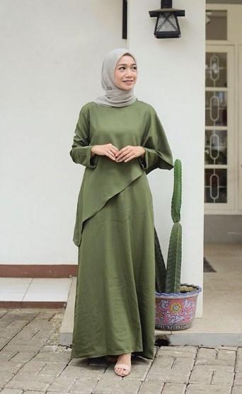 Gamis Hijau Army Cocok Dengan Jilbab Warna Apa - Gambar Islami