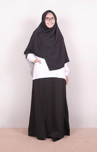model baju seragam dinas guru wanita gamis hitam putih